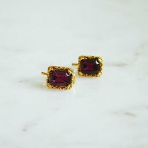 Gold and Purple Clip On Earrings